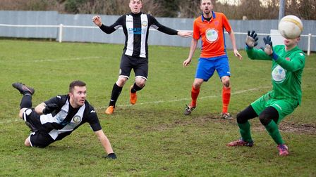 Blake Stangroome scores from Swaffham Town Reserves in their match against Aylsham Reserves Picture: