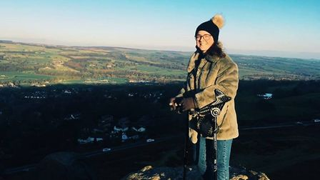 Gemma attempting to use crutches on New Years Day at Ilkley Moore in Leeds, which she visited with f