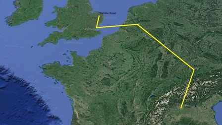 The route from Norwich to Milan. Picture: Google