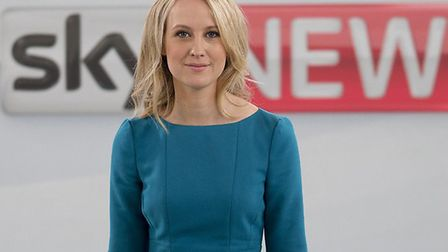 Sophy Ridge filmed for her Sky news show Ridge on Sunday in Watton. PHOTO: Sky News