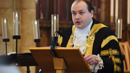 The Lord Mayor of Norwich, Martin Schmierer, speaks at the Holocaust Memorial Day Service at St Pete