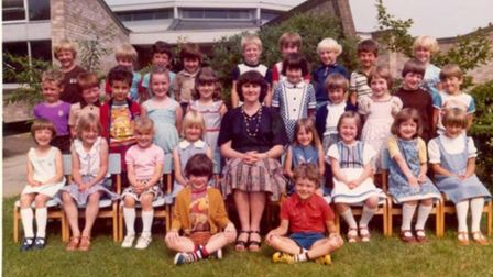 This forty-year-old photo of Mrs Mumford's 1979 class at Hethersett Woodside Infant and Nursery Scho