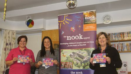 Quidenham staff Gaynor Wright, Amy Brown and Debra James help mark ticketds going on sale for the Ri
