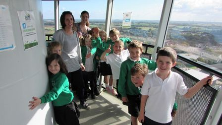 Children enjoying the view from the top of the Ecotricity wind turbine, Green Britain Centre. Pictur