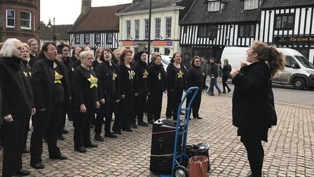 The Rock Choir performed at the Market Place. Picture: Victoria Pertusa