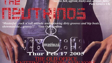 The Neutrinos poster for their gig at the Knitting Factory in New York, 2005. Poster: THE NEUTRINOS