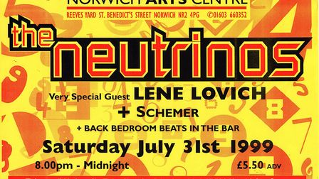 The Neutrinos poster for their gig at the Norwich Arts Centre, 1999. Poster: THE NEUTRINOS