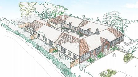 Impression of the planned retirement courtyard complex near Ashwellthorpe Hall that has have been re