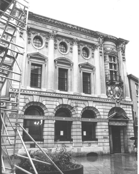 Barclays Bank in London Street, originally the premises of the London and Provincial Bank. It later