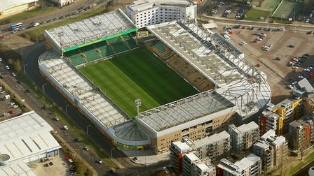 Aerial view of Carrow Road, Norwich. Picture: Mike Page