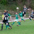 Swaffham Town's Ryan Pearson is head and shoulders above the rest during Saturday's game at Lakenhea