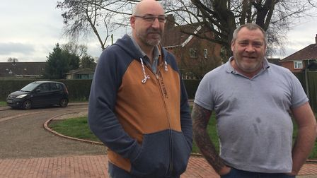 Residents of Northfield Gardens in Wymondham have been embroiled for years in parking arguments. Lef