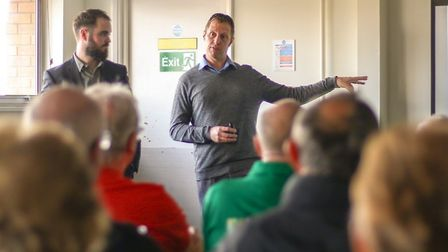 Chris Amos and Ben Craske giving a talk on the Local Recall project to members of Extra Time.Picture
