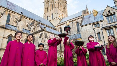 Young choristers from the Cathedral of St John the Baptist in Norwich had fun warming up for their s
