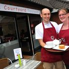 Stuart Burns and Alyson Brett in 2015 opening The Courtyard Tearooms in Attleborough, which will now