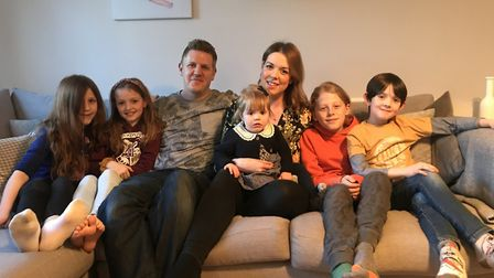 Charlotte Ashe with husband Simon Leedham, with their children, from left, Immy, Bea, Lila, Noah and