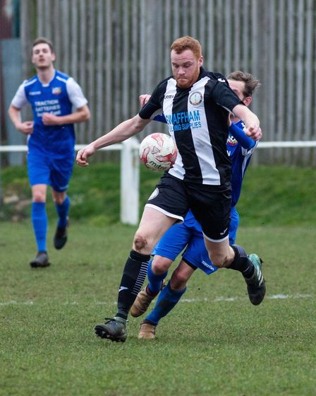 Swaffham Town's Kyle Plumb on the charge during Saturday's 2-2 draw against Cornard Picture: EDDIE D