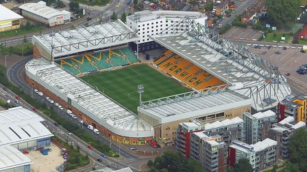 Aerial view of Carrow Road. Picture: Mike Page