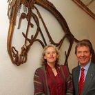 Norfolk artist Harriet Mead with Tony Abel of Abel Homes at a previous artwork unveiling in Watton.