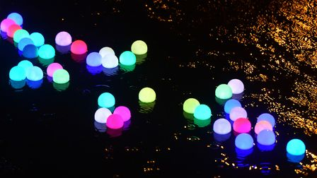 A thousand LED lights are floated on the river Wensum from St Georges Bridge, Norwich to Fye bridge