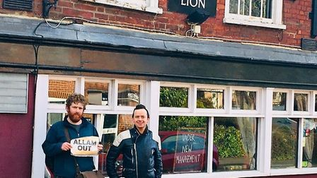 Tom Irvin and Simon Everitt visit The White Lion pub on a tour of all the Good Beer Guide pubs in th