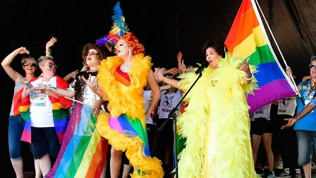 Surely Bassey along with the Norwich Pride team performing on stage at Norwich Pride. Picture: David