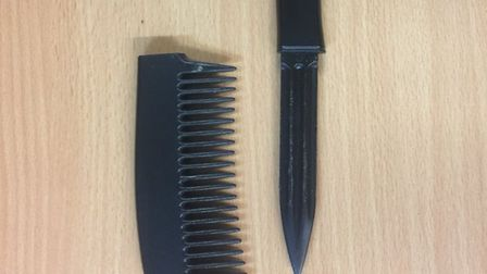 A blade hidden in a comb has been handed into Norwich police as part of Operation Sceptre. Picture: