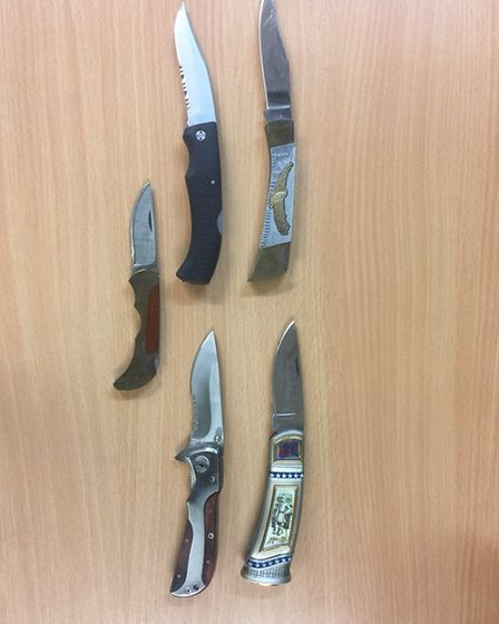 Some of the lock knives which have been handed into Norwich police as part of a knife amnesty. Pictu