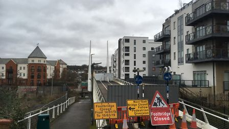 The Novi Sad Friendship Bridge in Norwich, which has been closed for repairs since January. Picture: