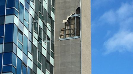Westlegate Tower in Norwich has been damaged by strong winds. Picture: Archant