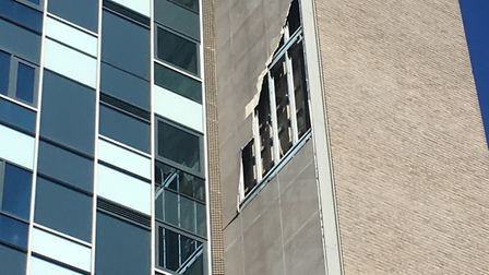 A piece of cladding has been torn from Westlegate Tower in high winds. Picture: Dominic Gilbert