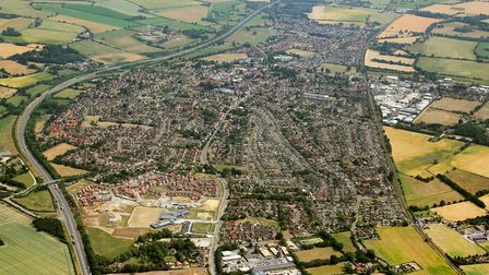 Aerial view of Attleborough, which could get 4,000 new homes. Pictture: Mike Page