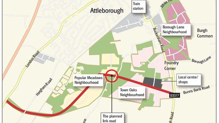 A map showing the three planned new neighbourhoods south of the current settlement in Attleborough.