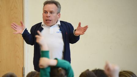 Warwick Davis speaks about his film career during his visit to the Edith Cavell Academy in Norwich.