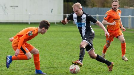 Ben Coe on the attack for Swaffham Town on his debut Picture: EDDIE DEANE