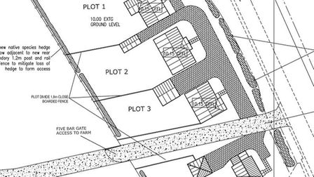 A plan showing the proposed homes in Houghton Lane, North Pickenham. Picture: PLANNING DOCUMENTS