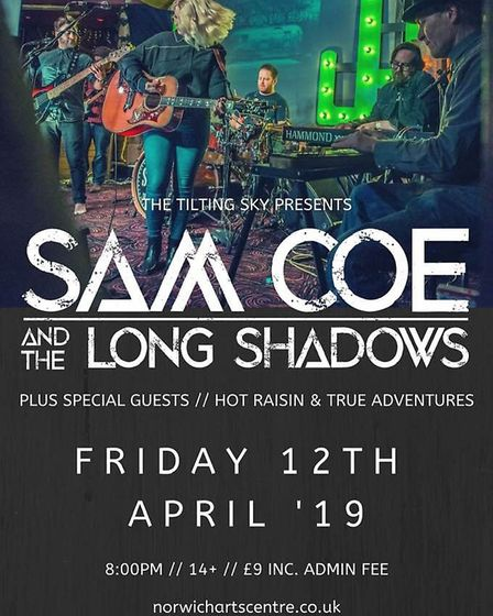 Sam Coe & The Long Shadows Norwich Arts Centre poster. Photo: Supplied by Craig Hill