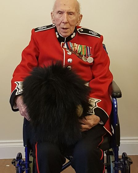Watton care home resident Leonard Boxall in Grenadier Guards uniform with bearskin. Picture: NorseCa