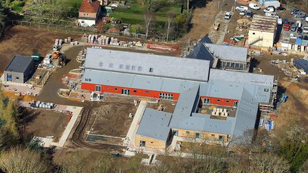 The new nook Norfolk hospice site at Quidenham this month complete with its new roof. Picture: Mike