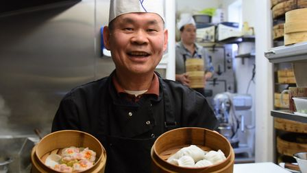 Chef Sonny Ngai, ready to steam the dumplings at the Baby Buddha Chinese Teahouse, which have been n