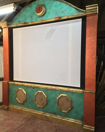Norwich theatre set designer Matt Nunn has built his own art deco style screen for the pop-up cinema