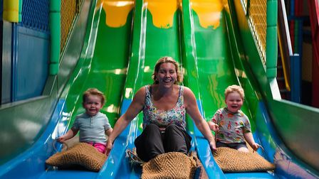 Mother's Day at Roarr! Dinosaur Adventure. Who said having fun on the slide is just for kids? Pictur