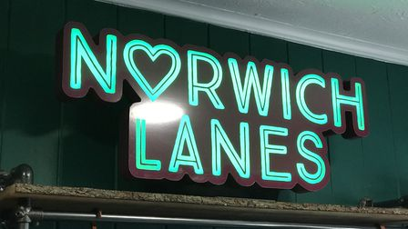 The Norwich Lanes sign in The Plant Den on Upper Saint Giles street for the opening. Picture: Ella W