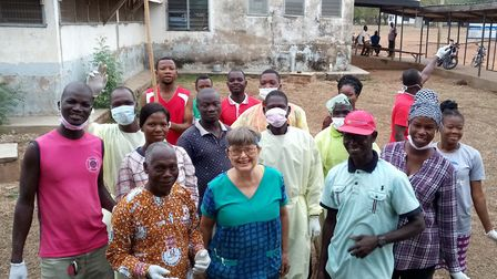 Staff at the Assemblies of God Hospital, Saboba, Ghana. Pictured in the front row are, from left, Is