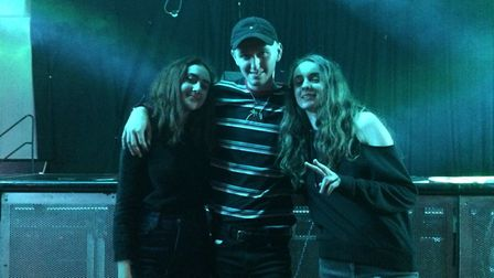 Let's Eat Grandma members Rosa Walton and Jenny Hollingworth with Billy Clayton at the Billy Clayton