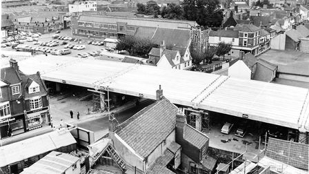 Norwich Streets -- MThe Magdalen Street flyover, part of the inner link road in the process of being