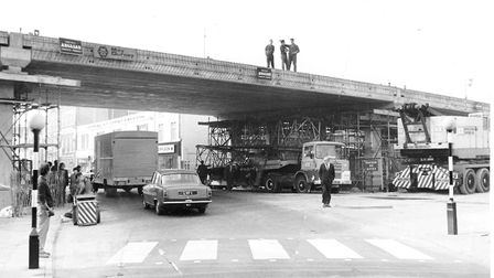 Norwich Streets -- MThe flyover in Magdalen Street pictured after the huge beams had been lifted in
