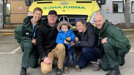 Kirsty Bolton EMT, Ali Deeba, Harry Deeba, Carly Howes and DLO Paramedic Colin Mayes. Picture: East