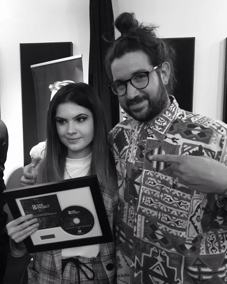 Norwich Access Creative College student Rose Evans with British record producer and singer-songwrite