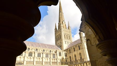 Norwich Cathedral on a sunny day